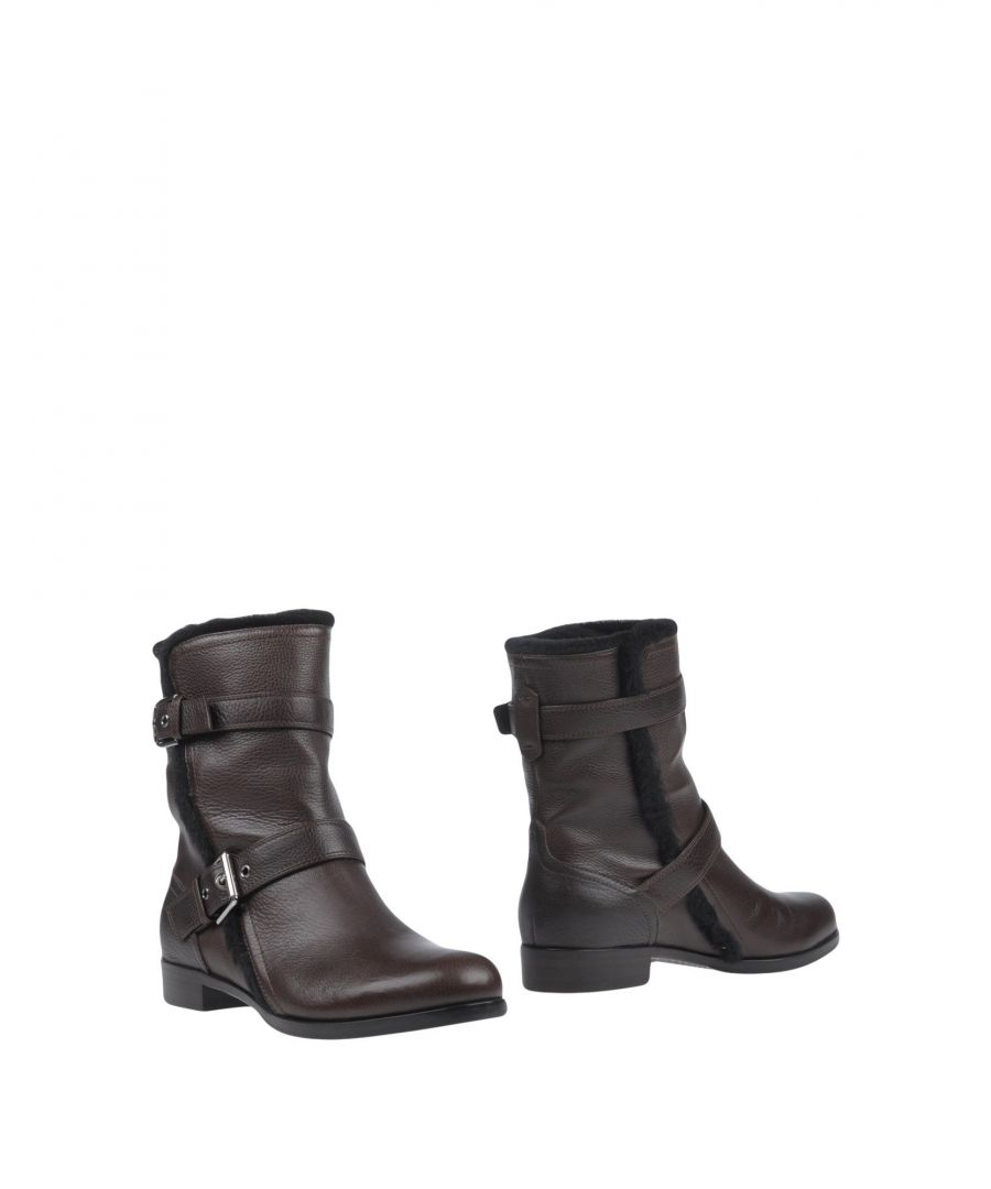 Image for Gianvito Rossi Dark Brown Shearling Ankle Boots