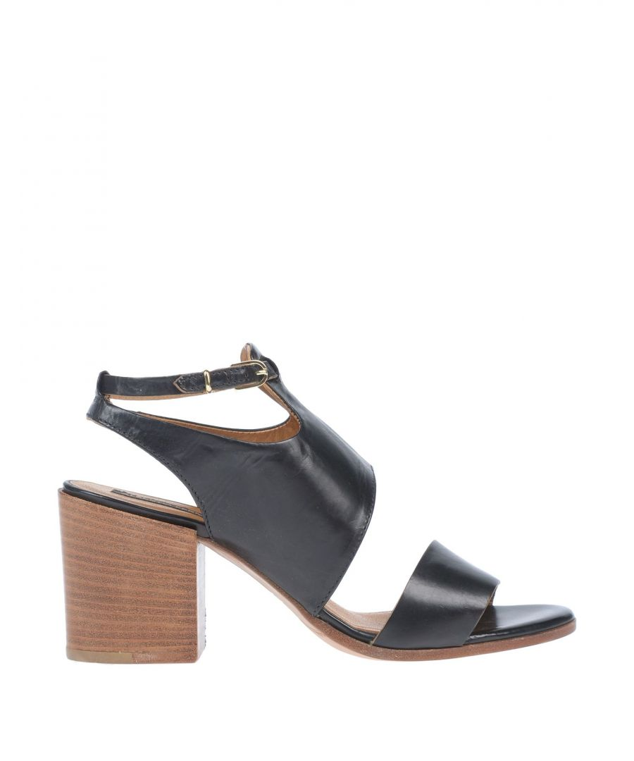 Image for Alberto Fermani Black Leather Heeled Sandals