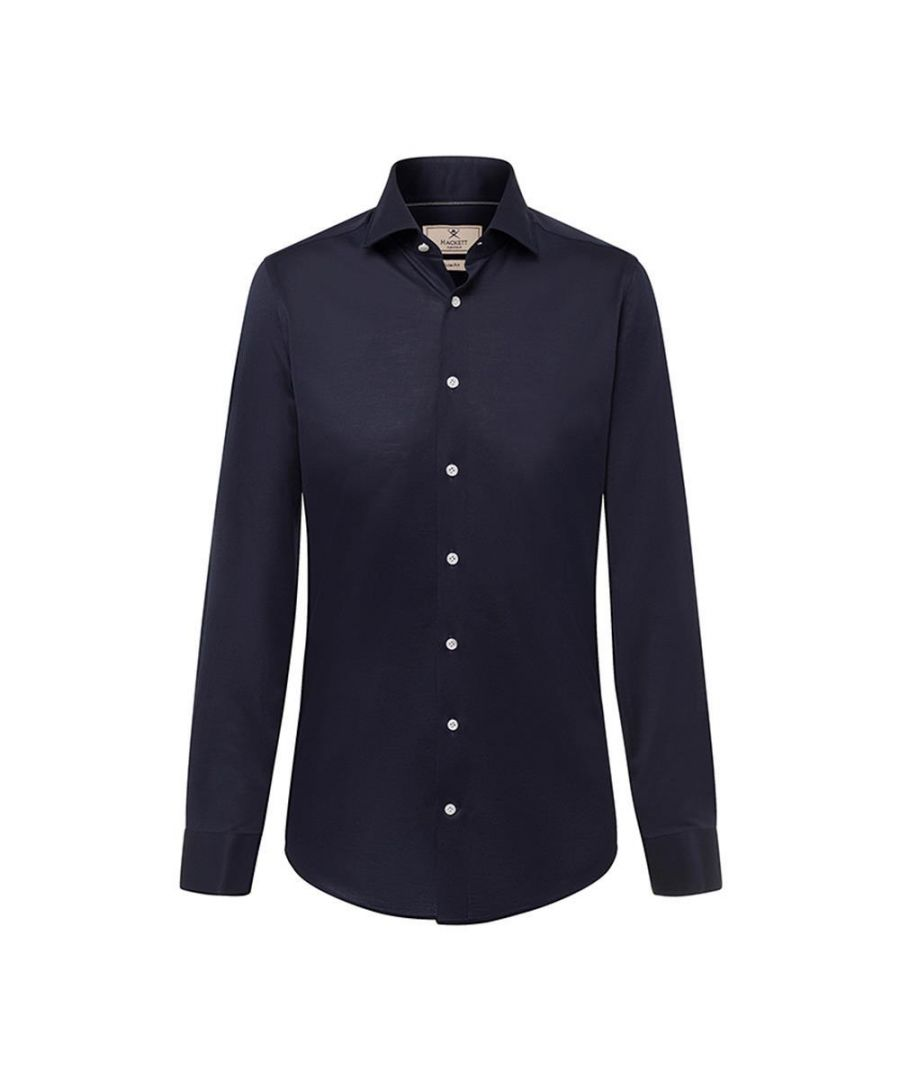 Image for Men's Hackett Mayfair Fine Melange Jersey Shirt in Ink