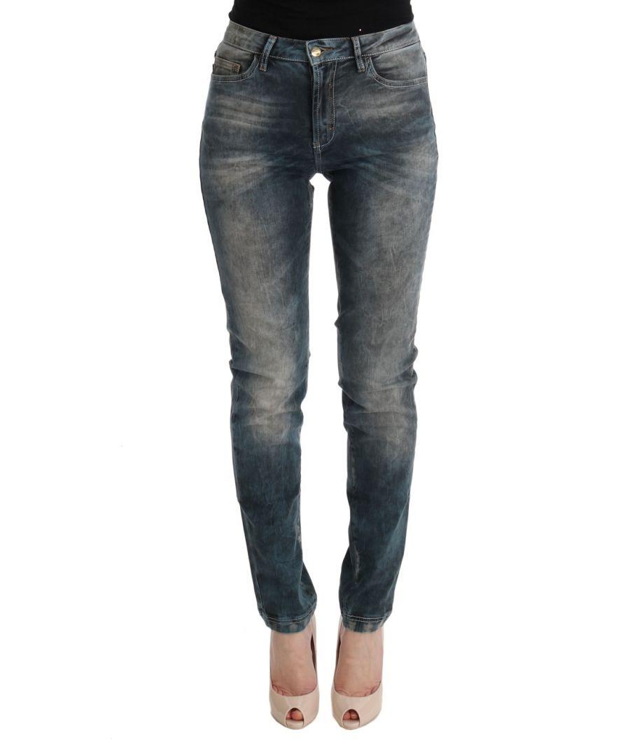 Image for Cavalli Blue Wash Cotton Blend Slim Fit Jeans