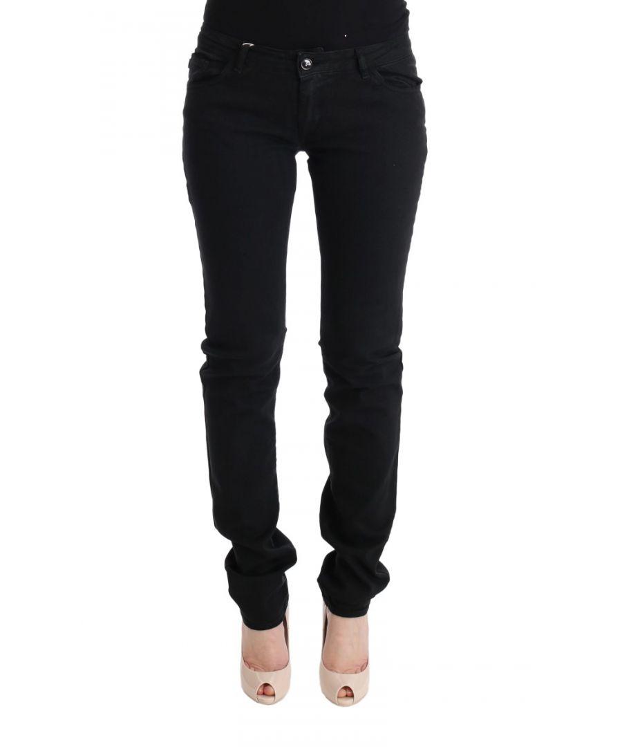 Image for Cavalli Black Cotton Slim Fit Low Waist Jeans