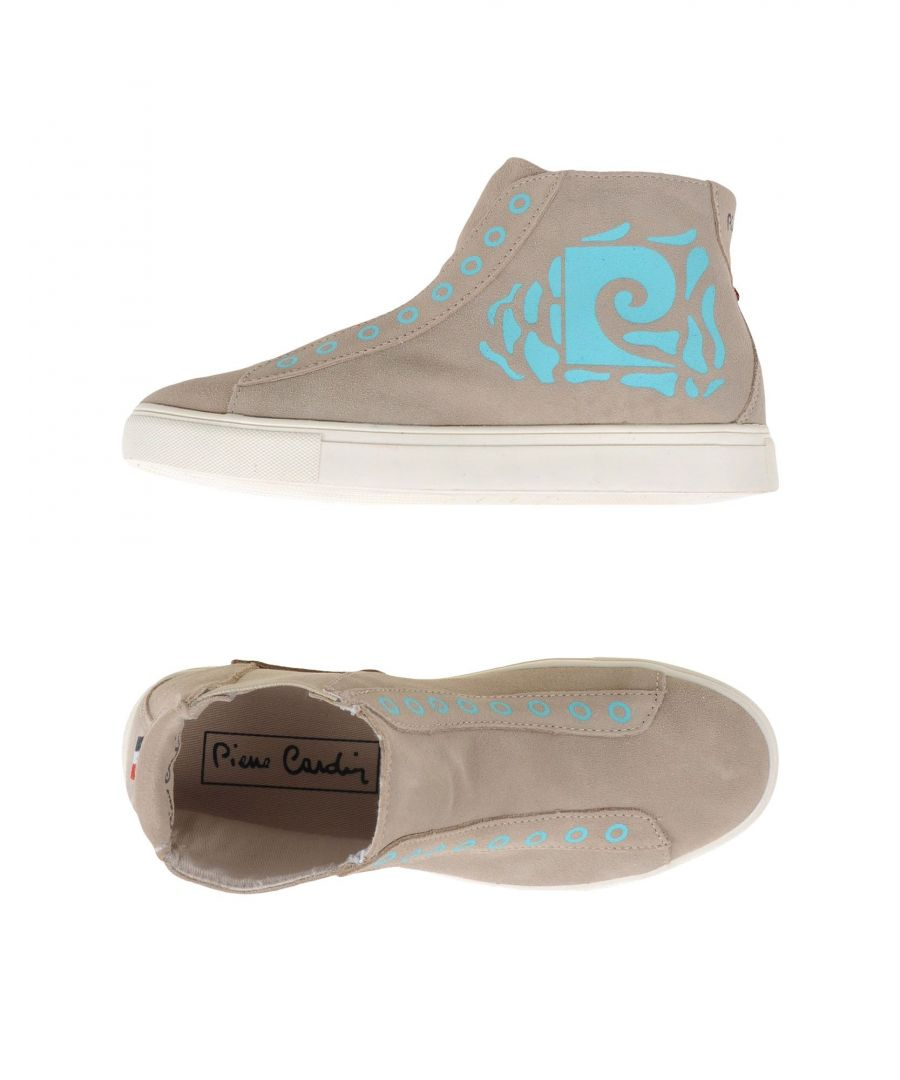Image for Pierre Cardin Beige Leather Print High Top Sneakers