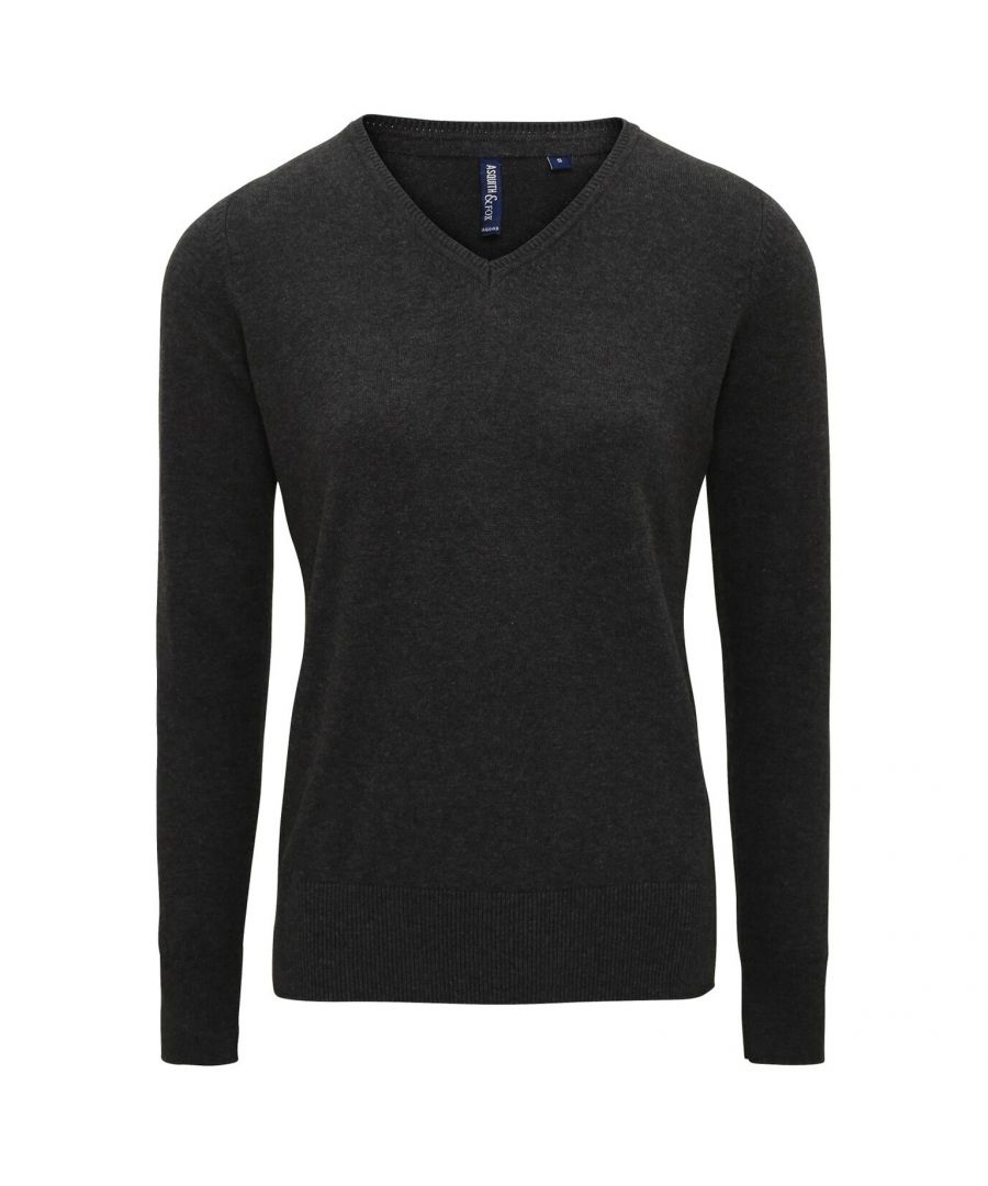 Image for Asquith And Fox Womens/Ladies V-Neck Sweater (Black Heather)