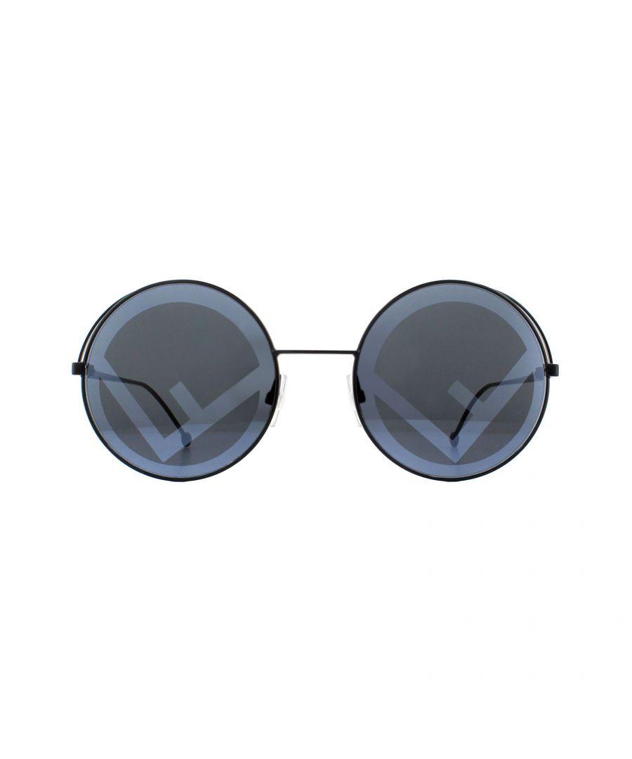 Image for Fendi Sunglasses FF 0343/S Fendirama 807 MD Black Grey Fendi logo