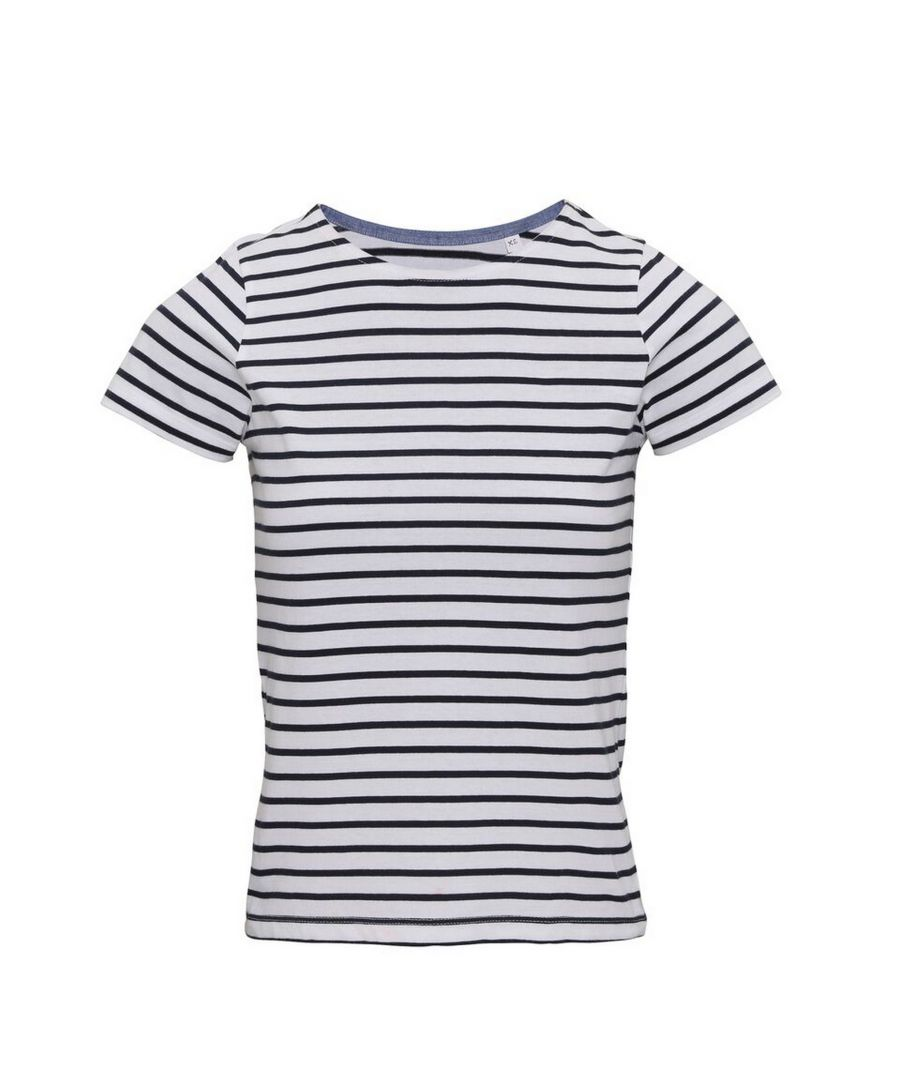 Image for Asquith & Fox Womens/Ladies Mariniere Coastal Short Sleeve T-Shirt (White/Navy)