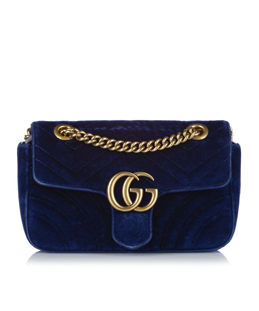 Image for Vintage Gucci Mini GG Marmont Matelasse Velvet Crossbody Bag Blue