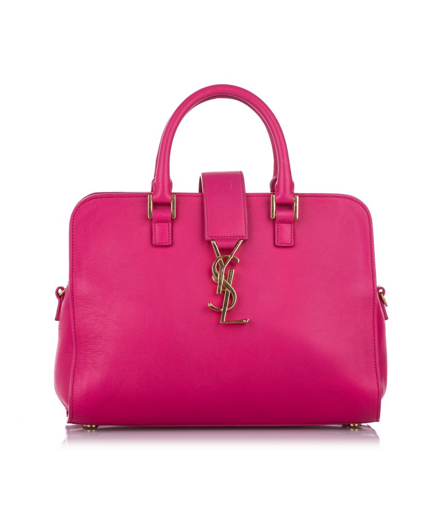 Image for Vintage YSL Small Cabas Monogram Leather Handbag Pink