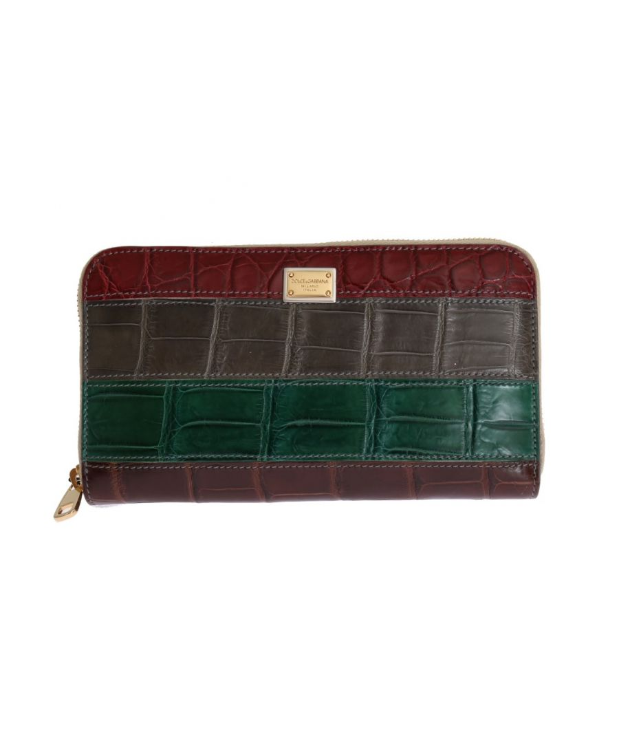 Image for Dolce & Gabbana Multicolor Leather Crocodile Skin Continental Wallet