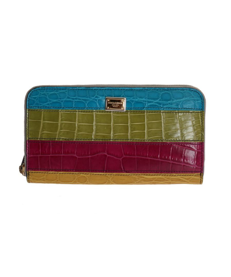 Image for Dolce & Gabbana Multicolor Alligator Caiman Leather Continental Wallet