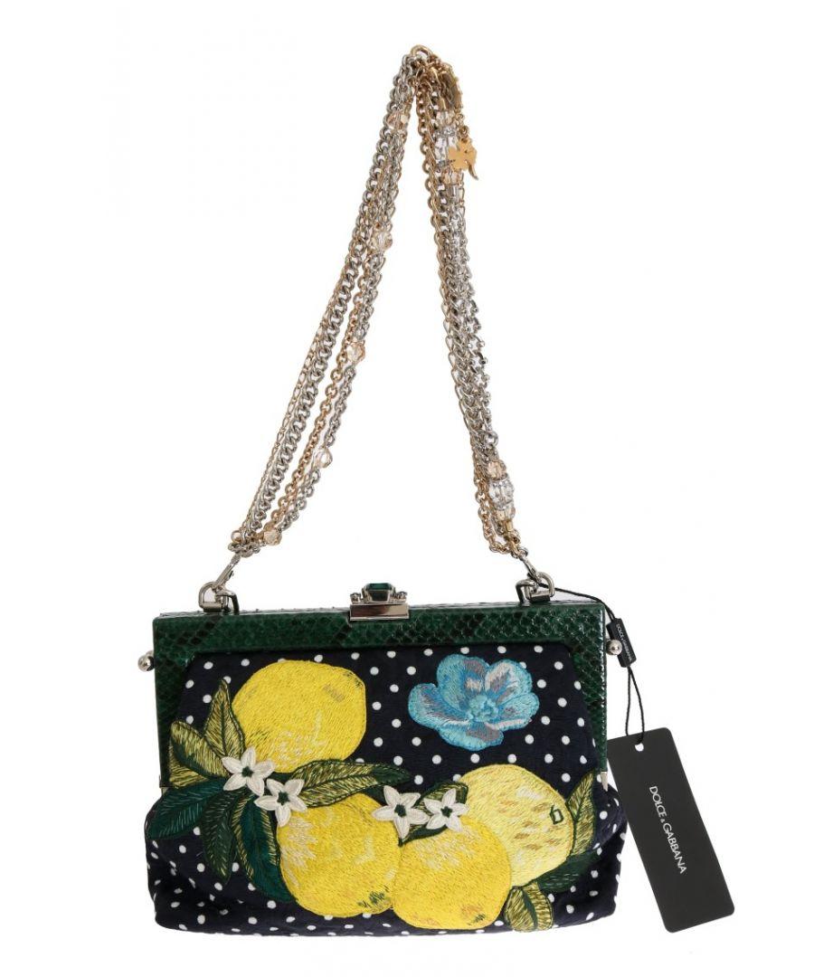 Image for Dolce & Gabbana Multicolor VANDA Floral Embroidered Crystal Bag