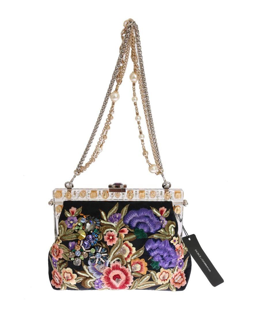 Image for Dolce & Gabbana Multicolor VANDA Floral Embroidered Bag
