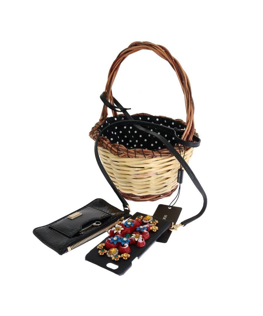 Image for Dolce & Gabbana Beige Straw lack Snakeskin AGNESE Bag