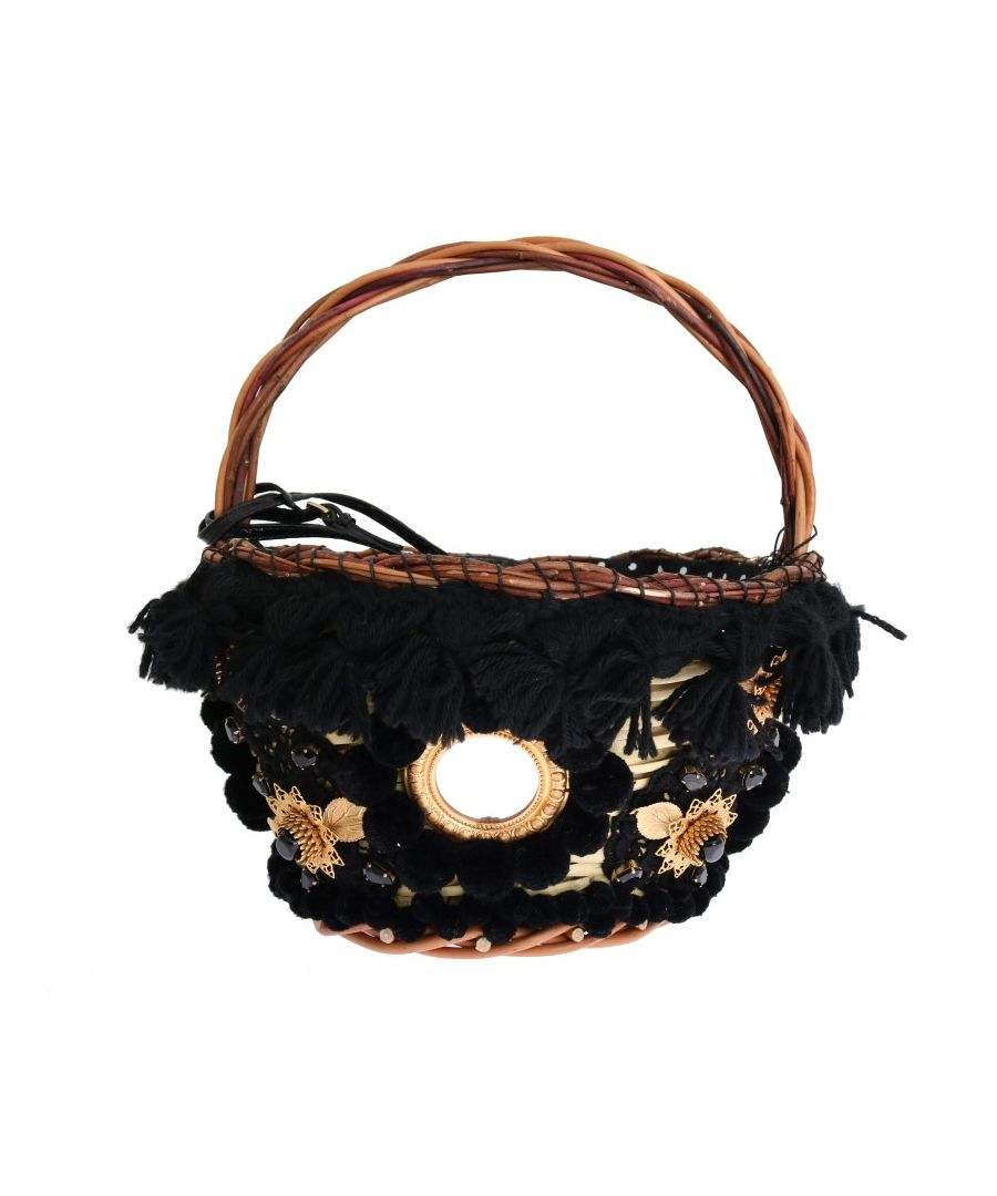 Image for Dolce & Gabbana Beige Straw Snakeskin Pom Pom Crystal AGNESE Bag