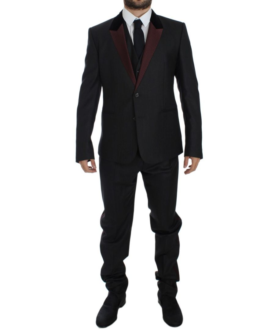 Image for Dolce & Gabbana Gray 3 Piece Slim Fit Suit Tuxedo Smoking