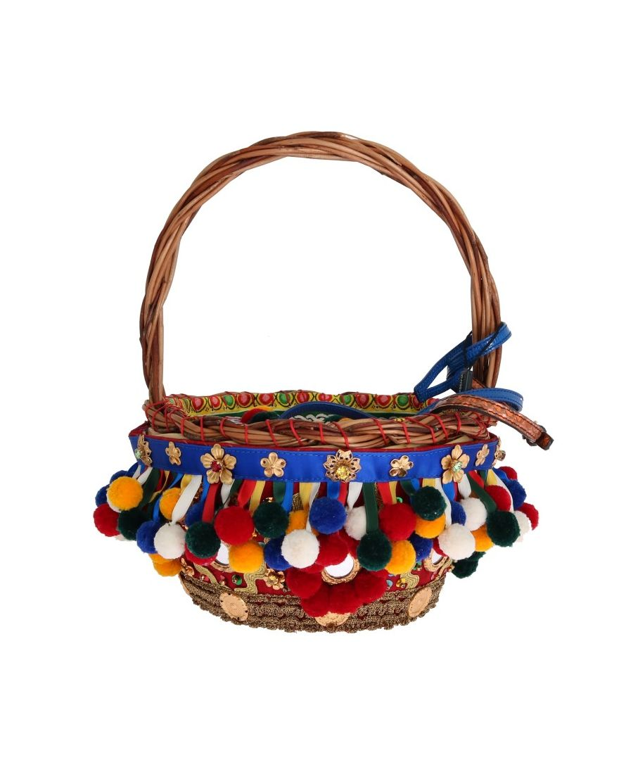 Image for Dolce & Gabbana Multicolor AGNESE Straw Crystal  Pom Pom Bag