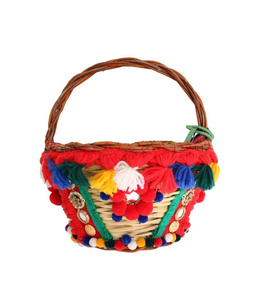 Image for Dolce & Gabbana Multicolor AGNESE Straw Crystal  Pom Pom Bag