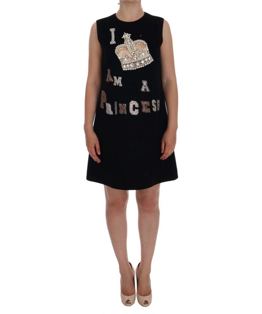 Image for Dolce & Gabbana Black I AM A PRINCESS Crystal Shift Dress