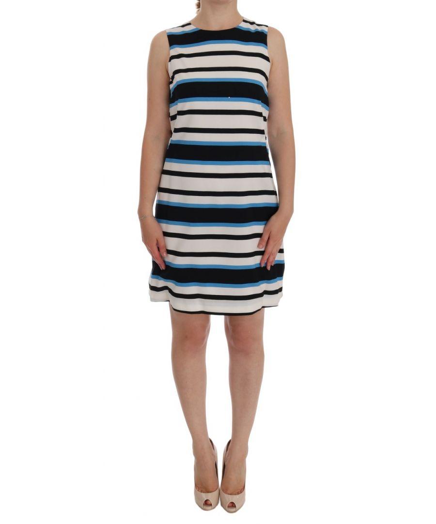 Image for Dolce & Gabbana Blue White Striped Silk Stretch Shift Dress
