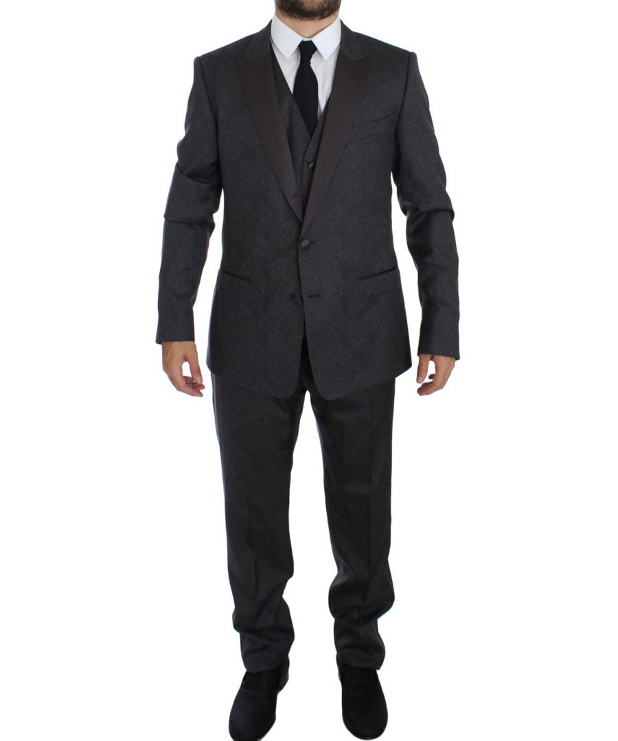 Image for Dolce & Gabbana Gray MARTINI 3 Piece Slim Fit Suit Tuxedo