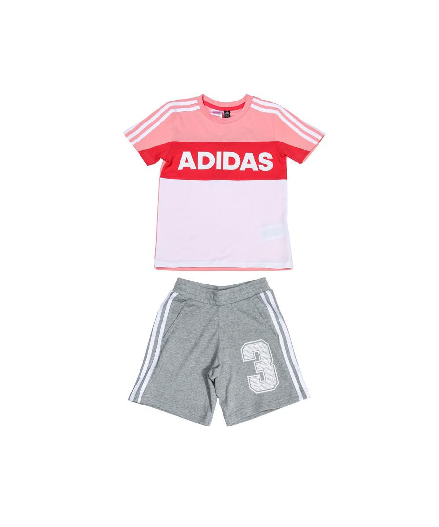 Image for Girls' adidas Infant Graphic T-Shirt and Shorts Set Pink grey 6-7in Pink grey