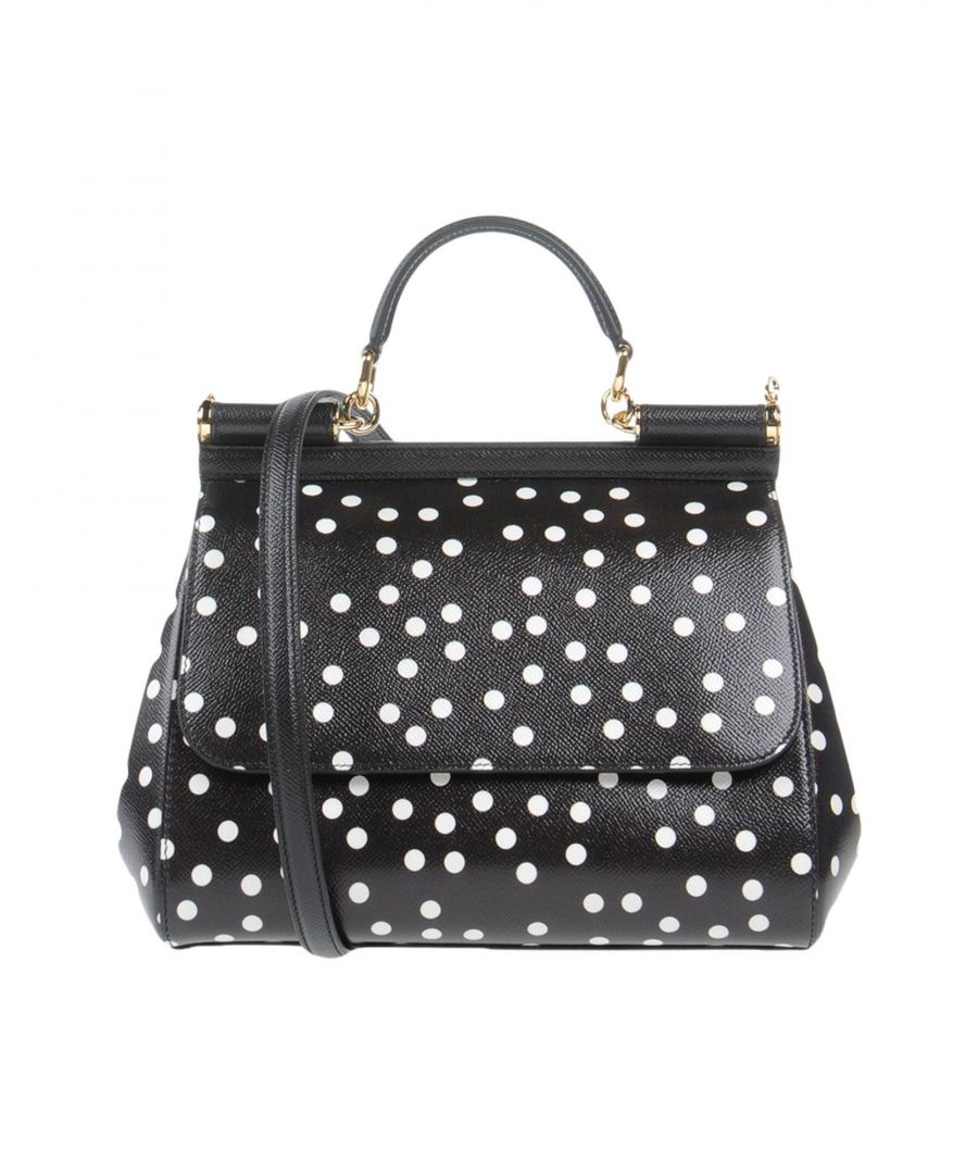 Image for Dolce & Gabbana Black Leather Polka Dot Satchel Bag