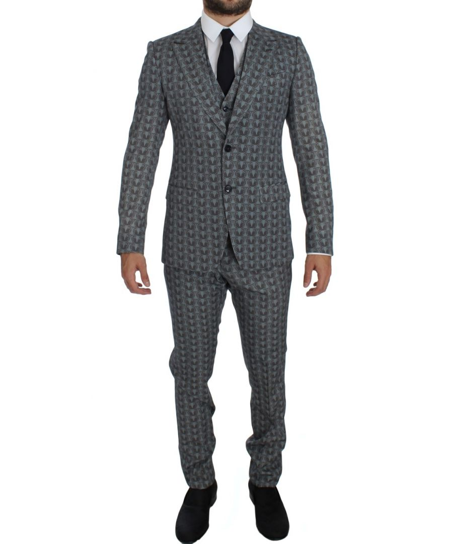 Image for Dolce & Gabbana Blue Wool Owl Print Slim Fit 3 Piece Suit
