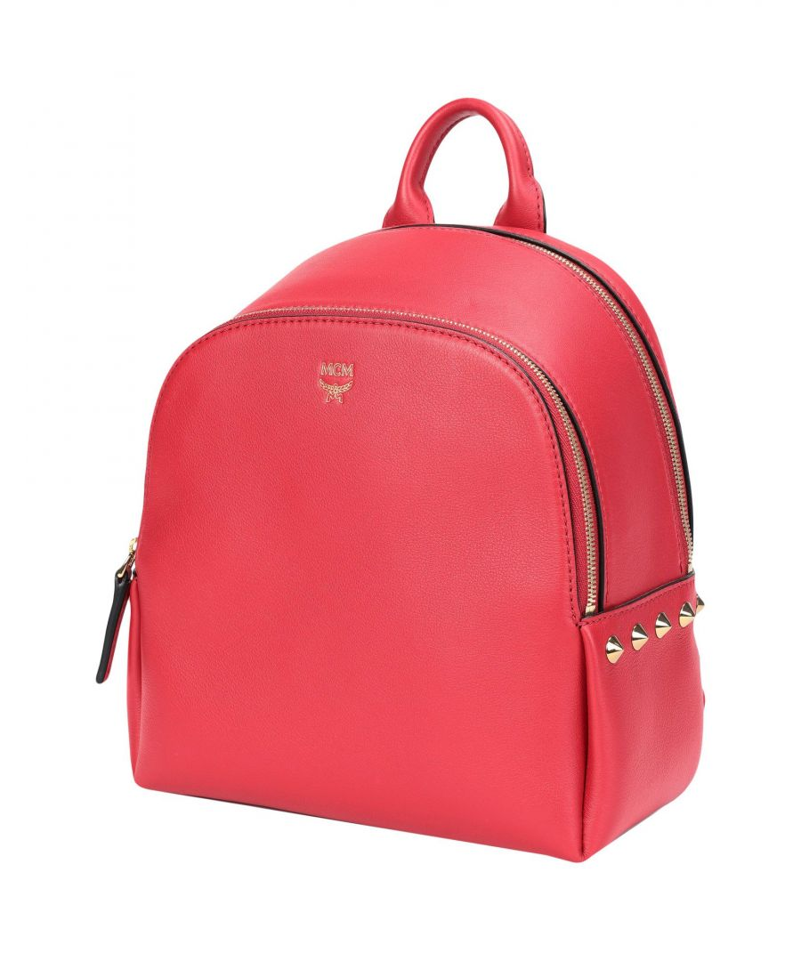 Image for MCM Red Leather Backpack