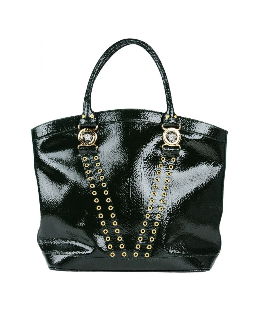 Image for Versace Dark Green Leather Studded Shopper