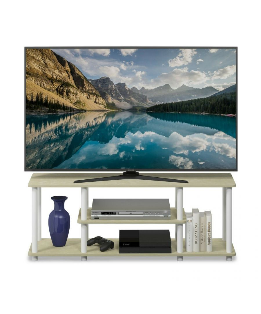 Image for Furinno Turn-N-Tube No Tools 3D 3-Tier Entertainment TV Stands - Cream Faux Marble