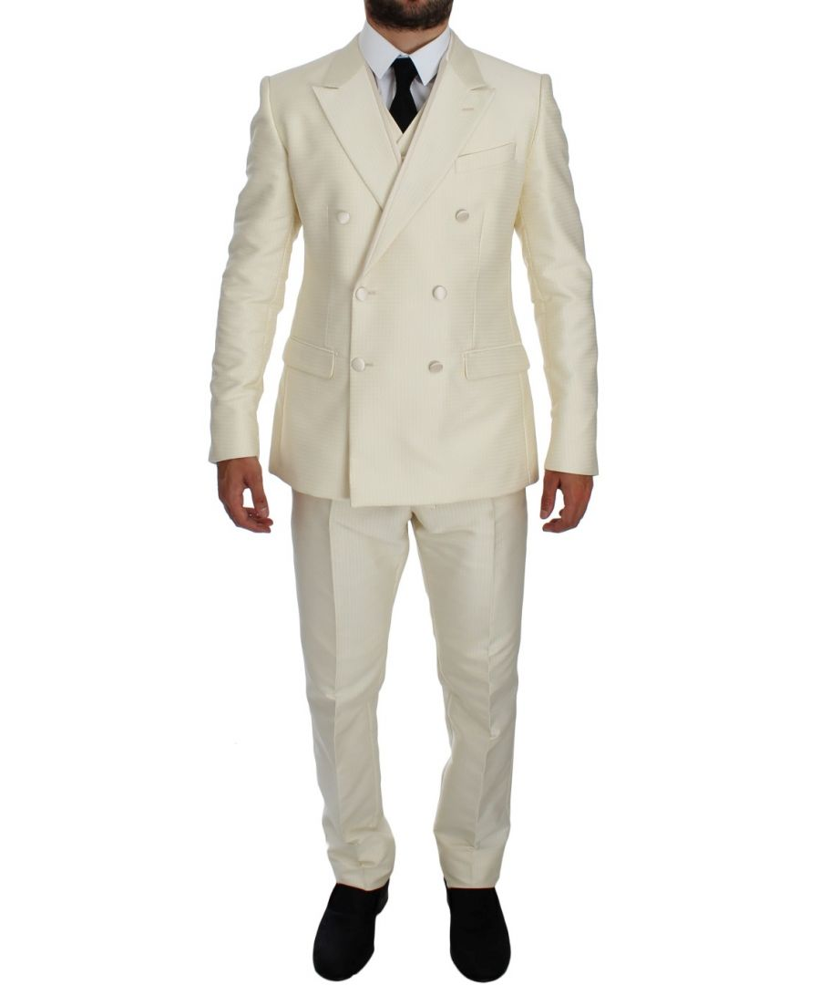 Image for Dolce & Gabbana White Slim Double Breasted 3 Piece Suit