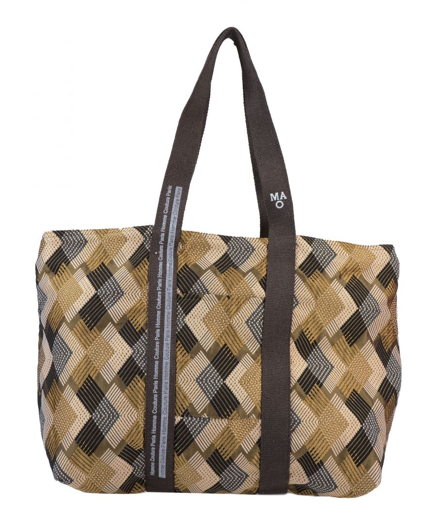 Image for Daniele Alessandrini Homme Brown Cotton Jacquard Weekend Bag