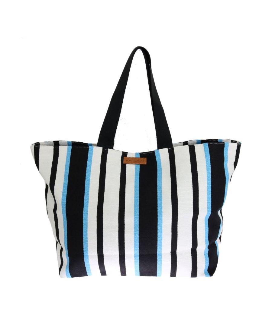 Image for Dolce & Gabbana Blue White Striped Cotton Shopping Tote