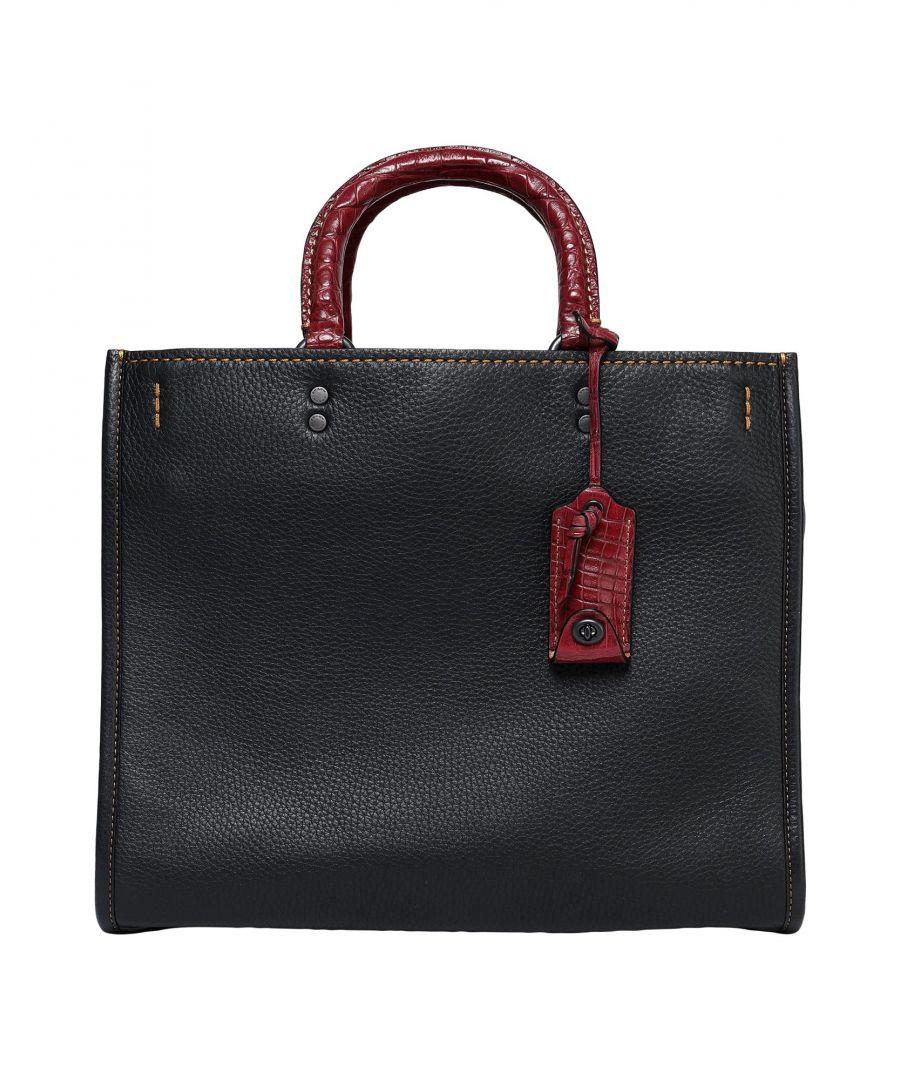 Image for Coach Black Textured Leather Shopper Bag
