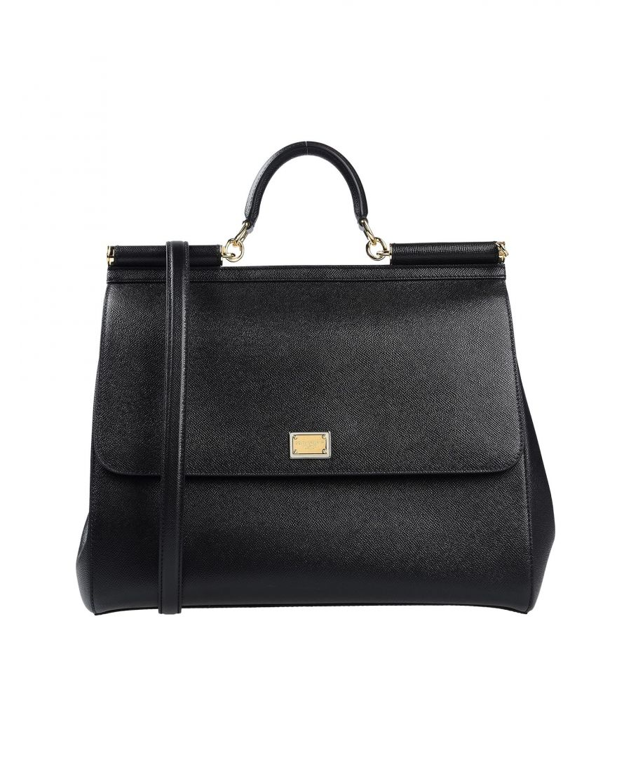 Image for Dolce & Gabbana Black Calf Leather Top Handle Bag