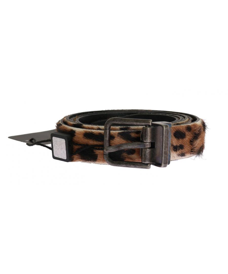 Image for Dolce & Gabbana Brown Leopard Goat Hair Cayman Leather Belt