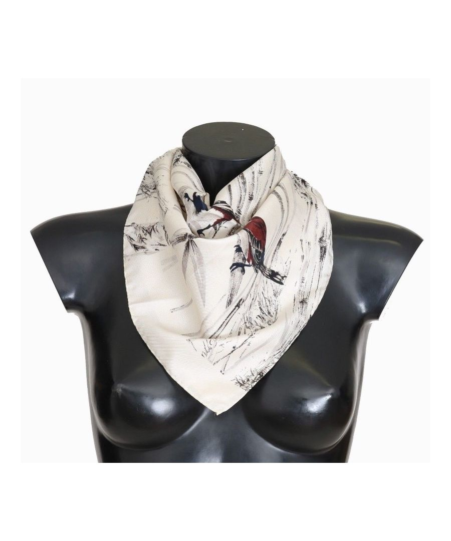 Image for Dolce & Gabbana White Silk Bird Print Scarf