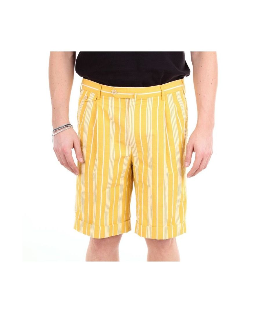 Image for PT01 MEN'S AA06CBML2PZP0SUMGIALLOEBIANCO YELLOW COTTON SHORTS