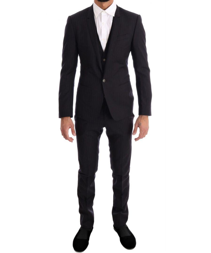 Image for Dolce & Gabbana Purple Blue Striped 3 Piece Slim Suit