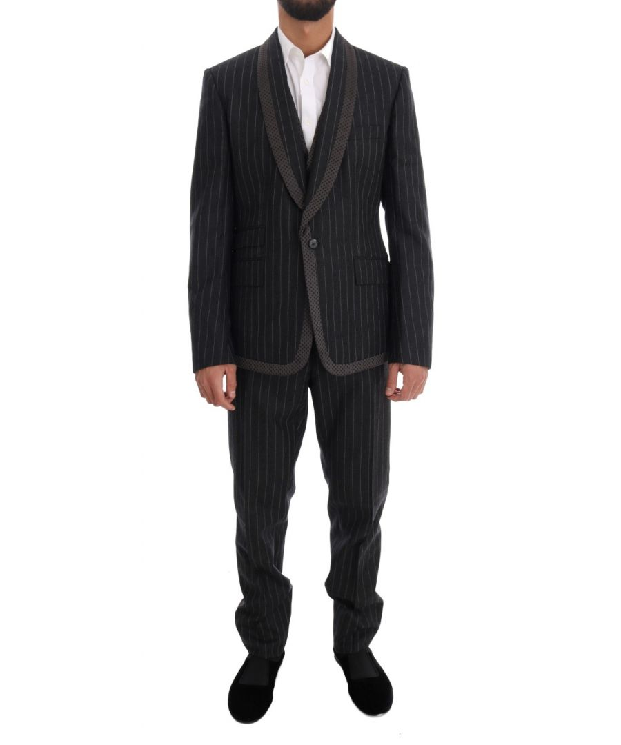 Image for Dolce & Gabbana Gray Wool One Button 3 Piece Suit