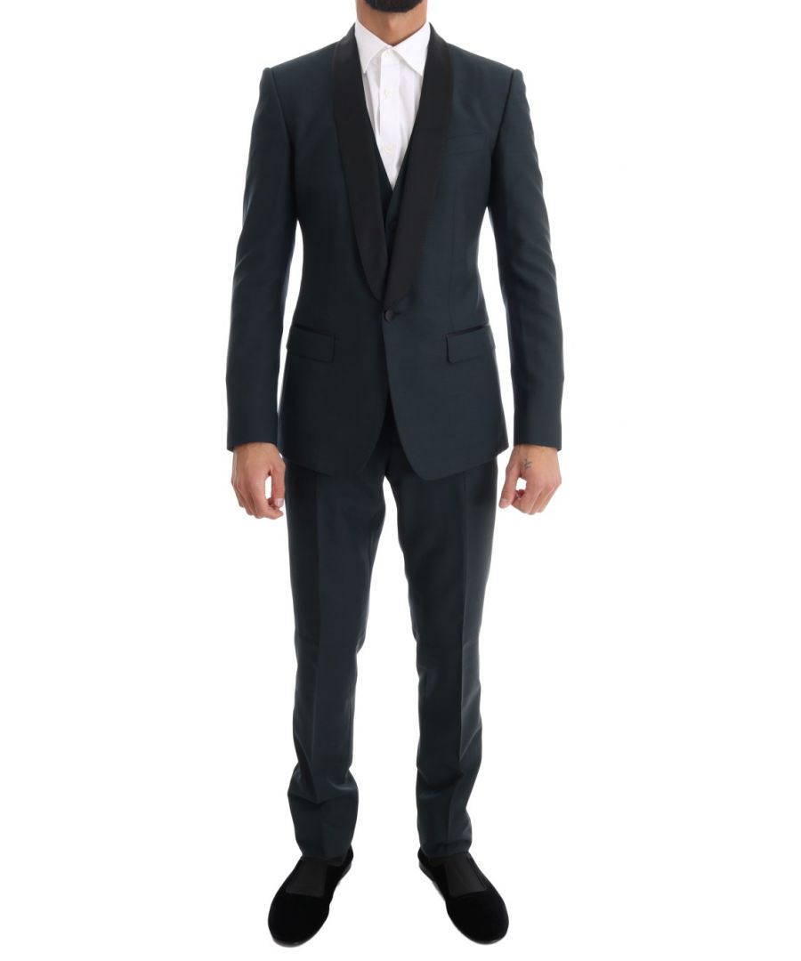 Image for Dolce & Gabbana Blue MARTINI Wool Silk 3 Piece Suit