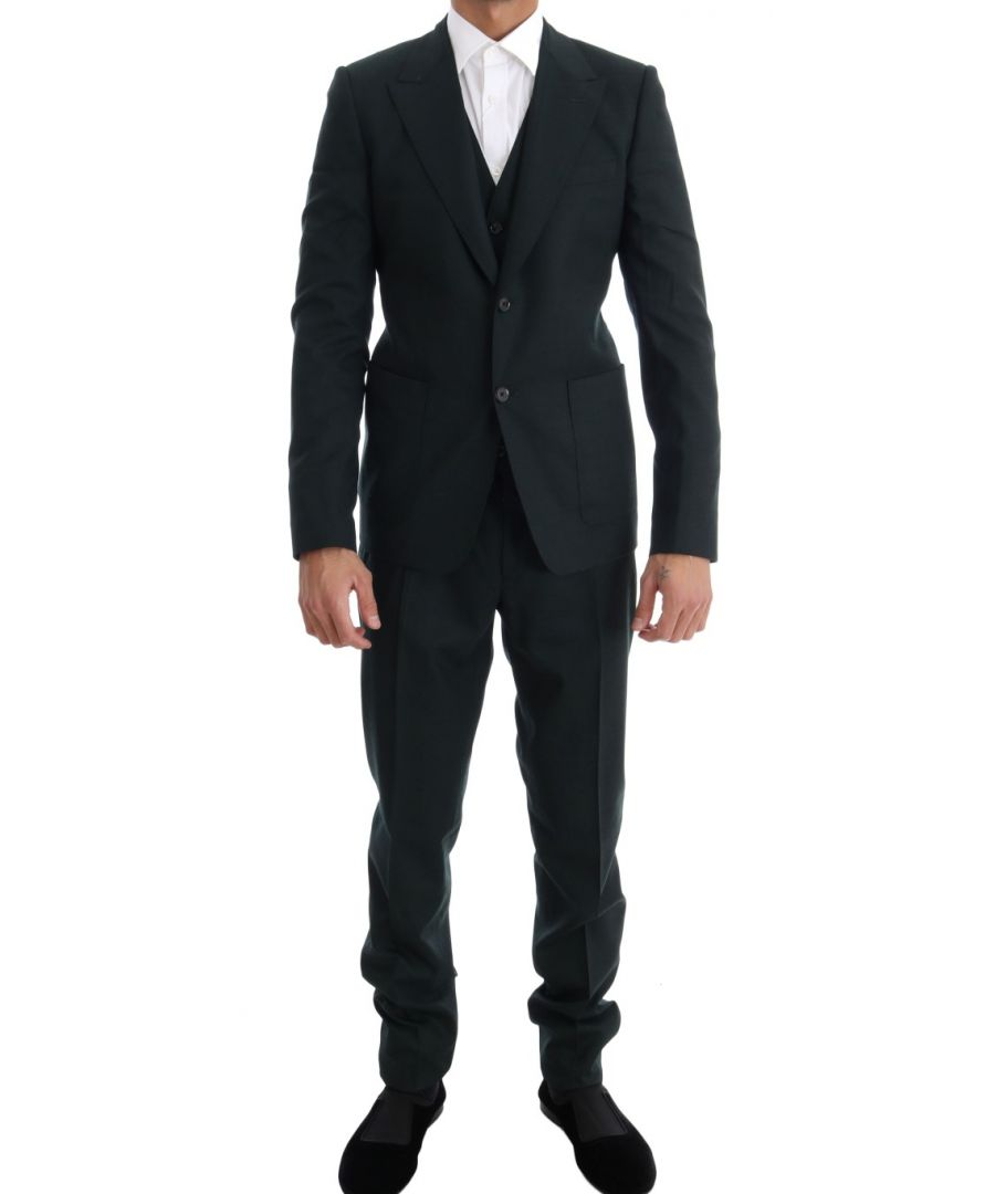 Image for Dolce & Gabbana Green Wool Stretch Slim Two Button Suit
