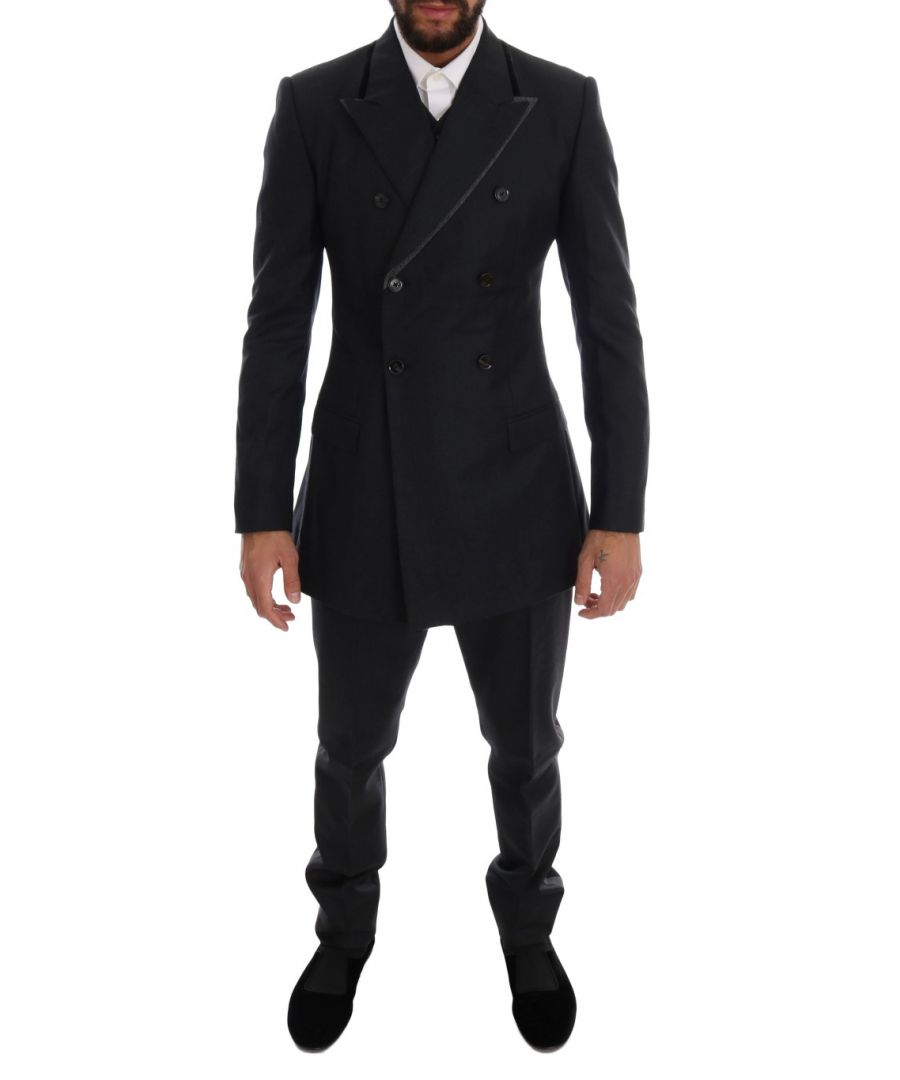Image for Dolce & Gabbana Gray Wool Double Breasted 3 Piece Suit