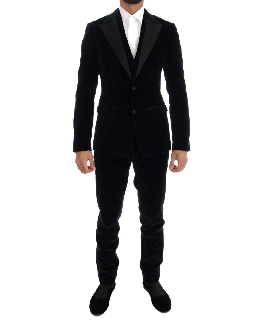 Image for Dolce & Gabbana Blue Velvet Stretch Slim Two Button Suit