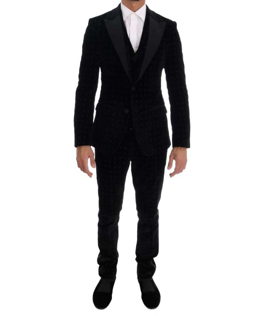 Image for Dolce & Gabbana Black Velvet Slim Floral Embroidered Suit
