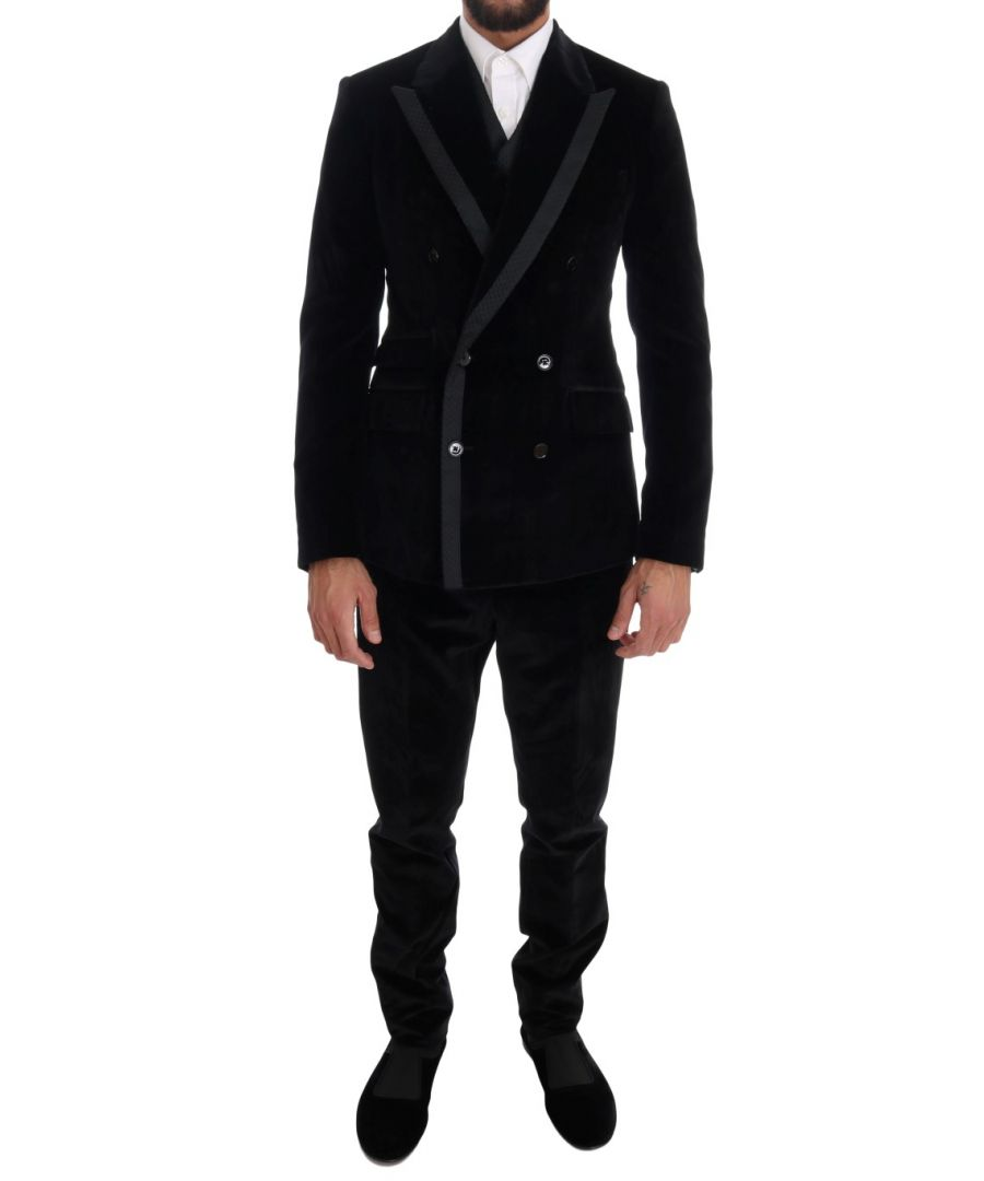 Image for Dolce & Gabbana Black Velvet Slim Double Breasted Suit