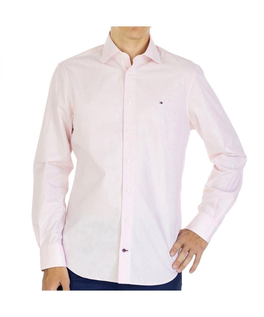 Image for Tommy Hilfiger Men Shirt Dobby Regular fit  Full sleeve Pink