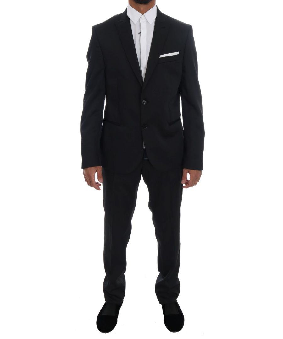Image for Daniele Alessandrini Black Two Button Slim Fit Suit