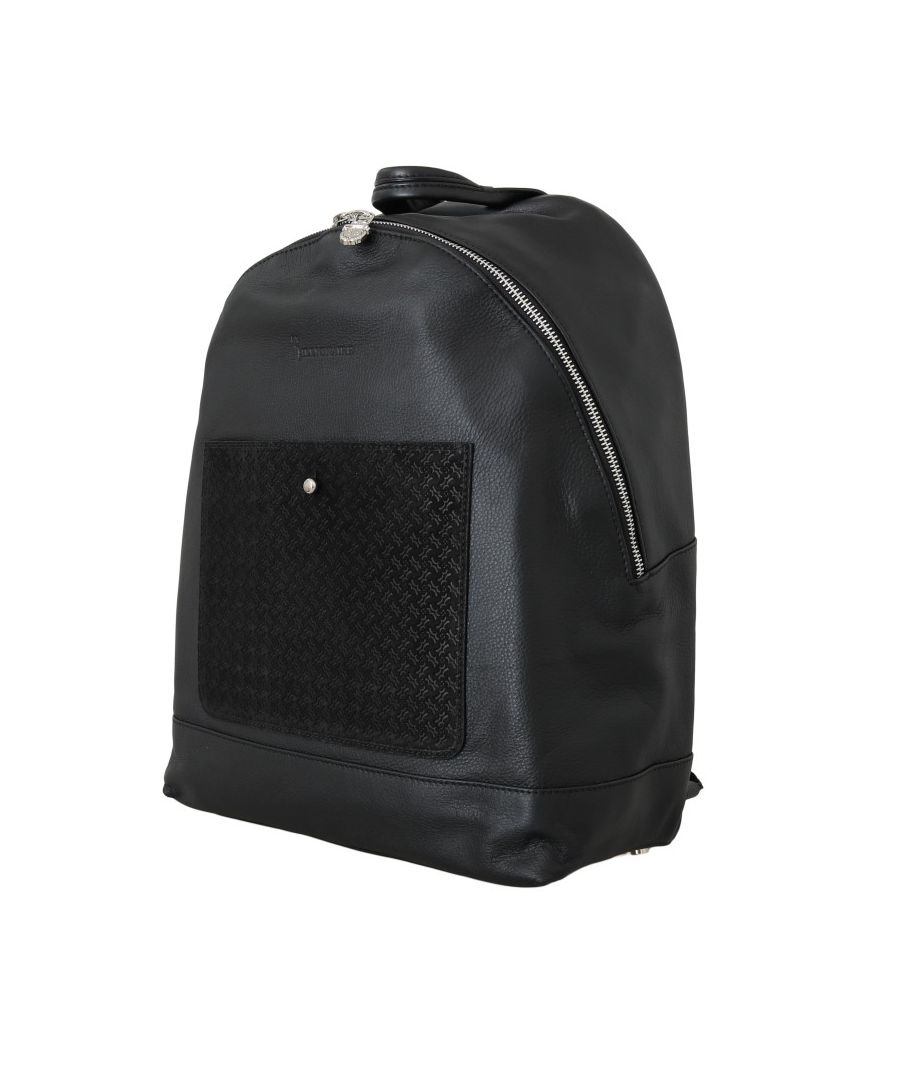 Image for Billionaire Italian Couture Black Leather Backpack Bag