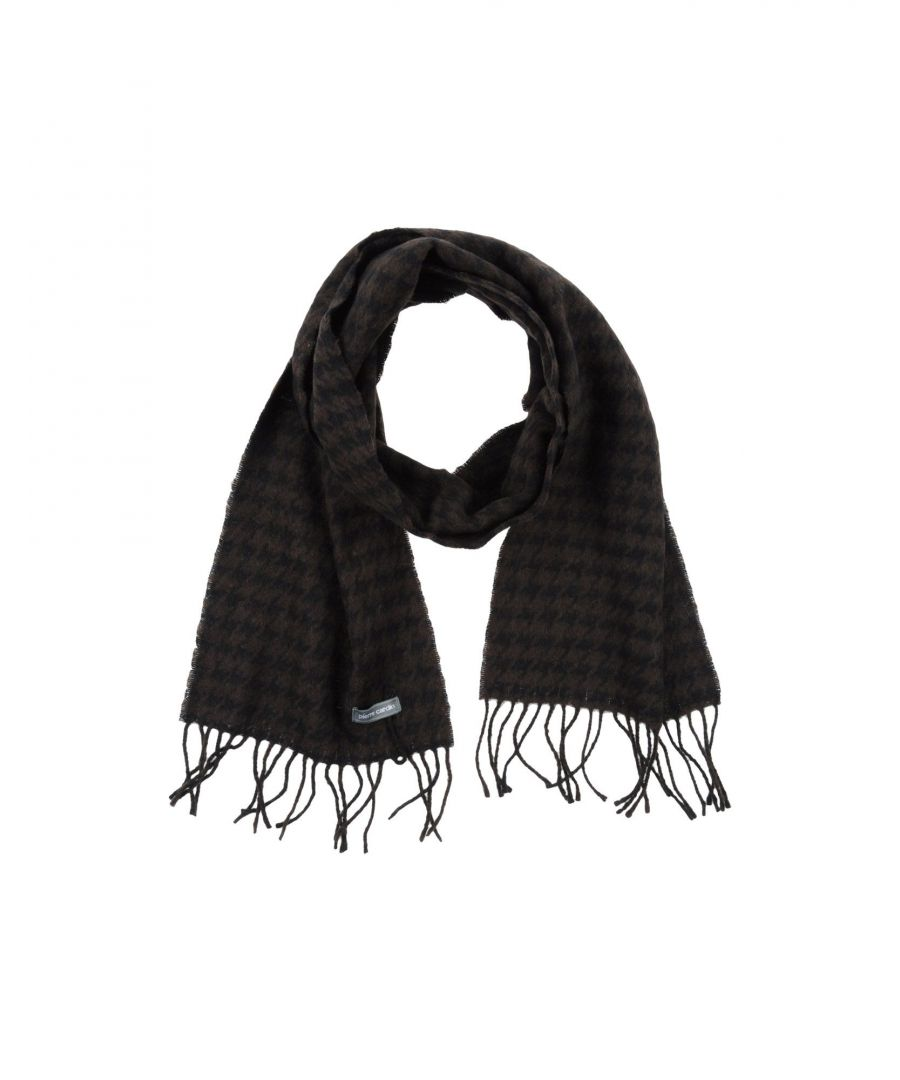 Image for Pierre Cardin Dark Brown Houndstooth Fringed Scarf