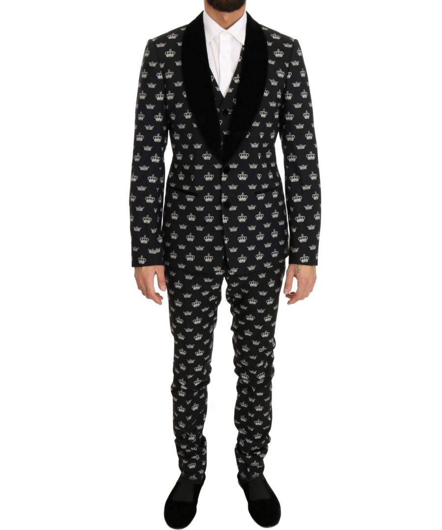 Image for Dolce & Gabbana Black Crown Wool Stretch Slim Fit Suit